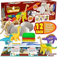 JOYIN Klever Kits Dinosaur Dino Egg Dig and Clay Kit with 12 Dinosaur Fossil Eggs12 Clay Kits12 Dinosaur Mini Figures Collective Cards and Tools Kids Science Craft Kits Archaeology STEM Learning