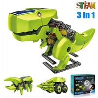 ASPPOPO STEM Projects for Kids Ages 8-12 Powerd by Solar 3 in 1 DIY Building Dinosaurs Toy Science Kits Age 8 and up Gift Boys Girls