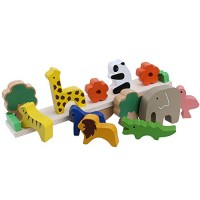Charger Dolls Wooden Animal Stacked Balance Toys Babies Early Learning Parenting Games Wooden Animal Stack Stack Stack Toy