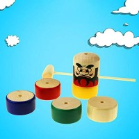 Balance Toyss Wooden Puzzle Tapping Toy Children's Early Education Toys Puzzle Knock Balance Tiger Tower Rainbow Pile Stack Early Education Toy