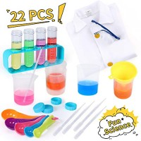 iHaHa Kids Science Kit with Lab Coat 22PCS Scientific Experiments Tools Set for Activity Classroom Costume Dress-up Role Play Ages 3+