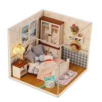 CONTINUELOVE DIY Miniature Doll House Kit - Wooden Miniature Dollhouse Model Kit - with