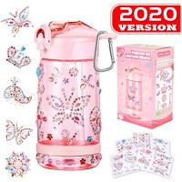 Decorate & Personalize Your Own Water Bottle with Tons of Gem StickersFun DIY Art and Craft Kit for ChildrenReusable BPA Free 17 oz Kids Bottles Cute Gift Girls Pink