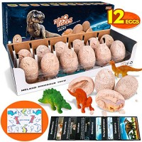 Meland Dino Eggs Dig Kit - Discover Dinosaur Toys for Kids Excavation Break Open 12 Fossil Archaeology Science STEM Toy Gifts Boys Birthday Christmas Easter