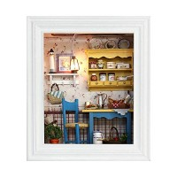 DIY Dollhouse Miniature Kit Photo Frame Wooden Mini Dollhouse Model with Furniture and LED