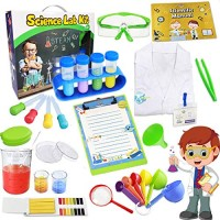UNGLINGA Kids Science Kit Lab Coat Set First DIY Chemistry Experiment Activity Exploration STEM Toys A Great Educational Gift Scientific Tools Pretend Play Scientist Costume for Boys Girls Age 4+
