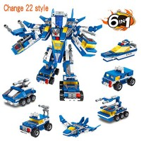 ANGINSTAR Building Blocks Bricks Toy Robot STEM Transforming Construction Toys Engineering 6 in 1 Change 22 Style Fun for Boys and Girls Ages 6+ Years Old