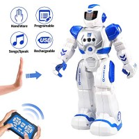 Cargooy Best Gift for Kids Intelligent Programmable RC Robot with Infrared Controller ToysDancingSinging Moonwalking and LED EyesGesture Sensing Kit Childrens Entertainment Blue