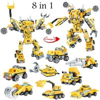 ANGINSTAR Stem Toys Robot Construction Vehicles Engineering Vehicle Building Blocks Set Toy Kit Transforming Bricks Activities Gift for 3+ Years Old Boy & Girls 8 in 1 700PCS+