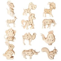 3D Wooden animal Puzzle Model Kit Toys for Kids Build Puzzles Educational Crafts Building Engineering DIY STEAM STEM Learning
