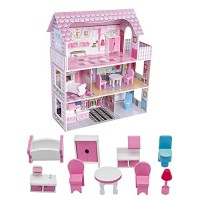 ROOMLIFE Wooden Dollhouse with Dollhouse Furniture Dream Doll House for Little Girls 5 Year