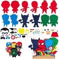 MALLMALL6 6Pcs Superhero Sewing Kit DIY Art Craft Felt Kits for Kids Learn to Sew Crafts Supplies Handmade Stuffed Cartoon Toys Hero League Themed Stitch Project Beginners Boys Girls