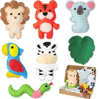 WATINC 7Pcs Jungle Animals Sewing Kit for Kids DIY Art Craft Sew Kits Cute Wild Animal Parrot Tiger Koala Lion Zebra Snake Leaf Creative Indoor Activity Party Supplies Fun Gift Girls Boys