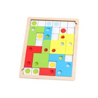 Binory 16PCS Wooden Children Logical Thinking Building Blocks Puzzle Toys Elementary School Kids Toddlers Brain Exercise and IQ Developmental Learning Board Fun Early Educational Stem Toy Gift