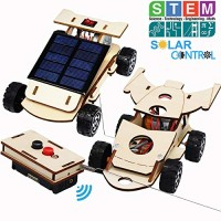 Wooden Solar & Wireless Remote Control Car Model Kits to Build - DIY Science Experiment and Educational STEM Toys for Kids Age 8-12Circuit Engineering Project 2 2 Cars Kits