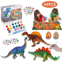 Lehoo Castle Kids Crafts Supplies Kit 44 Pcs Decorate Your Own Dinosaur Figurines DIY Arts and Painting Toys for Boys Girls Age 4 5 6 7 8 Years Old