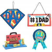 Father's Day Craft Kits Set - Superman Dad Sign 3D Toolbox Award Ribbon & More Children's Activities for Classroom Kid's Sunday School Homeschooling Supplies Scrapbooking DIY Refrigerator Decor