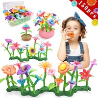 Byserten Flower Garden Building Toys for Girls STEM Stacking Gardening Preschool Craft Kits 3 4 5 6 Year Old Toddler Birthday Gifts Kids Childrens 150pcs