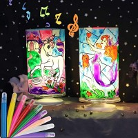 DIY Fairy and Unicorn Night Light Painting Craft Kit- Mermaid Lantern Arts Crafts for Girl Kids- Stained Glass Lamp Supplies Educational Toy Gift Ages 5 6 7 8 9 10