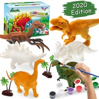 Arts and Crafts for Kids Painting Kit - 6 Different Dinosaurs & Play Mat 2 Dinosaur Eggs Trees Rocks Gifts Toys Art Boys Girls Age 4 5 7 8 9 Years Old