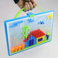 discountstore145-296Pcs DIY Mosaic Picture Puzzle Pegboard Mushroom Nails Educational Kids Toy