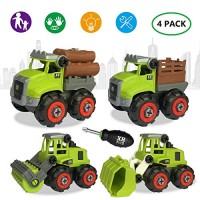 4 Pack Take Apart Toy Truck with Screwdriver for Kids Construction Assemble Toys STEM Building Set Early Educational Best Gift Boys and Girls 34567 Year Olds