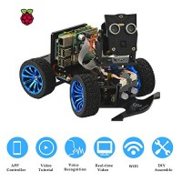 Adeept Wireless Smart Robot Car Kit PiCar-B for Raspberry Pi 4 3 Model B+ B 2B Voice Recognition OpenCV Real-time Video Transmission Mars Rover STEM Learning with PDF
