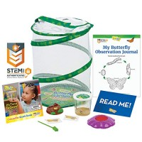 Insect Lore Butterfly Garden Original Habitat and Live Cup of Caterpillars with STEM Journal Life Science & Education Kit