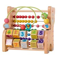 ELIITI Wooden Bead Maze and Counting Abacus for Toddler Kids 2 to 4 Year Old Montessori Wire Toy Baby Activity Tiger Frame