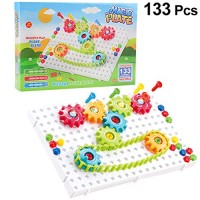 133Pcs Drilling Toys with Screwdriver STEM Learning Gear Building Educational Construction Engineering Peg Board Toy for Kids Toddler Baby
