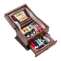 ManFull Mini Doll House Accessories 1/12 Doll House Chinese Wooden Sewing Kit Box Miniature
