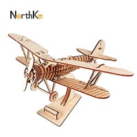 Biplane Team Green JIGZLE 2mm Plywood Wooden 3D Puzzle for Teens and Adults Mechanical Models Kits Classic Vehicles Collection