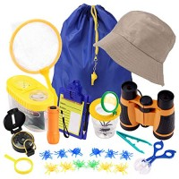 Minterest Kids Explorer Kit 25pcs Bug Catchers with Containers Binoculars Magnifying Glass Compass Toys for Outdoor Backyard Adventure Exploration
