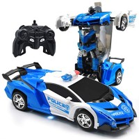 Zosam Electric Police Car One Button Transformation Robot Deformation Car Model Toy 360 Speed