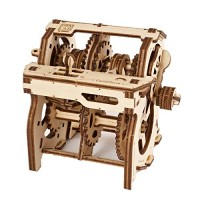 UGEARS Science STEM Gearbox Kids DIY Engineering Activity STEAM School Project Mechanical Wooden Puzzle Eco Building 3D Toy Educational Gift for & Teen Boy Girl Self-Assembly Craft Kit