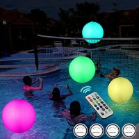 Anonion 2 Pack 16'' Glow Beach Ball 13 Colors Changing LED Light Floating Inflatable