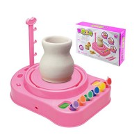 YU-NIYUT Children Kids Pottery Wheel Machine Workshop Craft Kit Manual Puzzles DIY Ceramic Electric Clay Color Painting Educational Toys