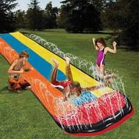 settlede 18 FT Lawn Water Slides3-Color Rainbow Slip Slide Play Center with Splash Sprinkler