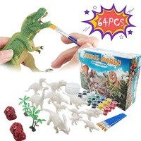 Rapify 64 PCS 3D Dinosaur Toys for Kids DIY Arts Crafts and Supplies Set Painting Kit Decorate Your Modeling STEM Educational Boys Girls Age 4 5 6 7 8 Years Old