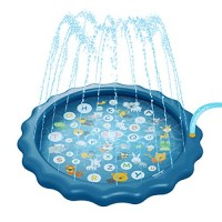 Ayunjia Funny Splash Pad Sprinkler for Kids 68 Inches Wading Pool for Learning Play