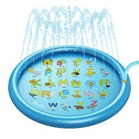 Pumpumly Sprinkler & Splash Play Mat for Kids Splash Pad for Wading and Learning