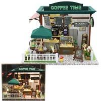 OLADOT DIY Dollhouse Wooden Miniature Furniture Set with LED LightsMini Coffee House ModelBest Birthday