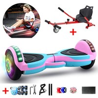 WFLRF 8 Self Balancing Electric Scooter with Hoverkart Go-Kart with Led Colorful Light Best
