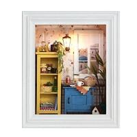 Delaman DIY Mini Dolls House Set DIY Dollhouse Photo Frame Design Warm House Kit
