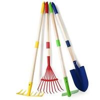 Play22 Kids Garden Tool Set Toy 4-Piece - Shovel Rake Hoe Leaf Rake Wooden