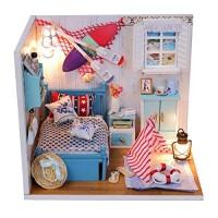 Castello Toddler Kids Gift Girls Children Wooden Dollhouse Miniatures DIY House LED Light