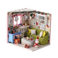 PWTAO DIY Miniature Dollhouse Furniture Kit 3D Wooden Mini Doll House Accessories Plus Dust