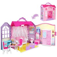 Super Joy Portable Dollhouse Dreamhouse Fold Playset Toys with Furniture Accessories with Carrying Handle