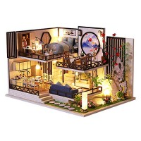 CUTEBEE Dollhouse Miniature with Furniture DIY Wooden Dollhouse Kit Plus Dust Proof and Music