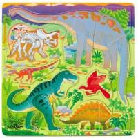 Dino Dig See Skeleton Inside Wooden Puzzle